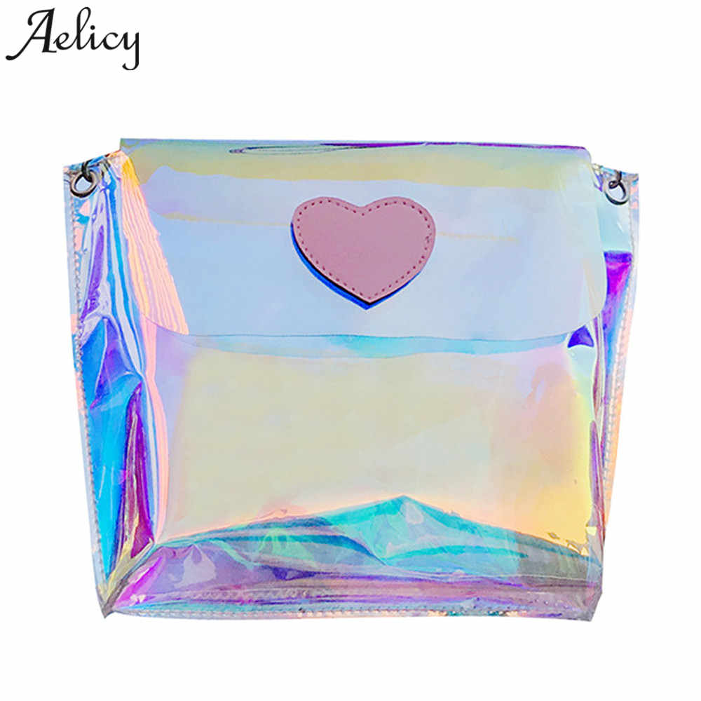 Aelicy Women Transparent Bag PVC Jelly Small Tote Messenger Bags Laser Holographic Shoulder Bag Handbags Women Famous Brands