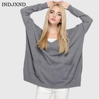 INDJXND Female Autumn Sweater V Neck Long Sleeved Loose Hedge Sweaters Casual Double Pockets Women S