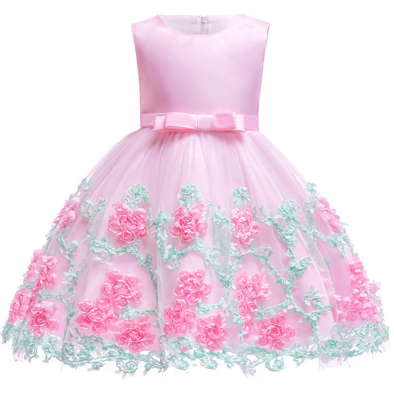Flower     Girls     Dresses   for Christmas Clothes Party Baby   Girls   Sleeveless Big Bow Princess Wedding   Dress   Children Party Vestidos