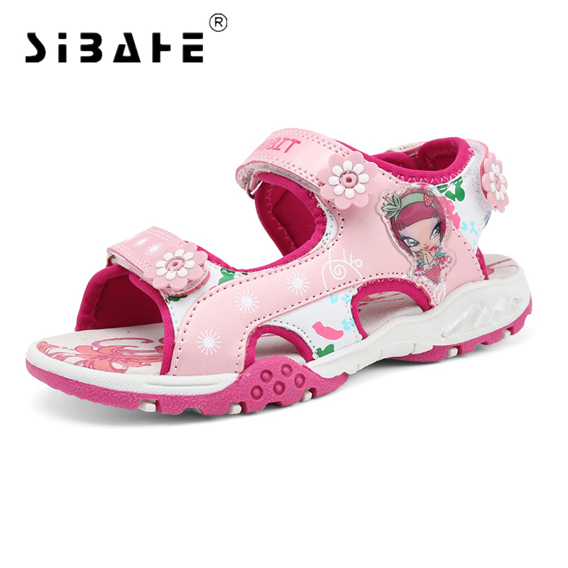 Zapatos rosas con velcro de punta abierta formales infantiles YukEc