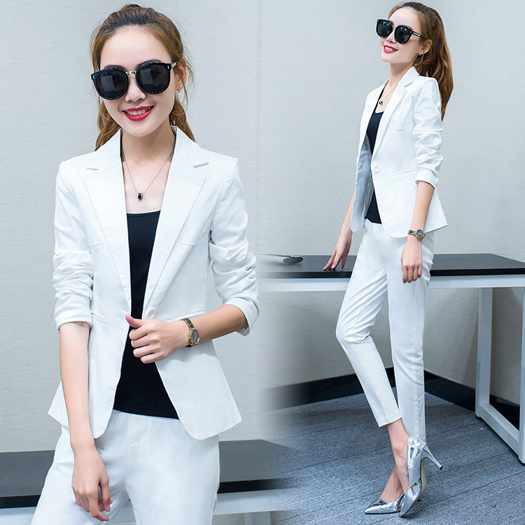 Set female 2018 autumn new temperament casual Slim fashion small suit jacket + nine pants elegant two-piece suit wild