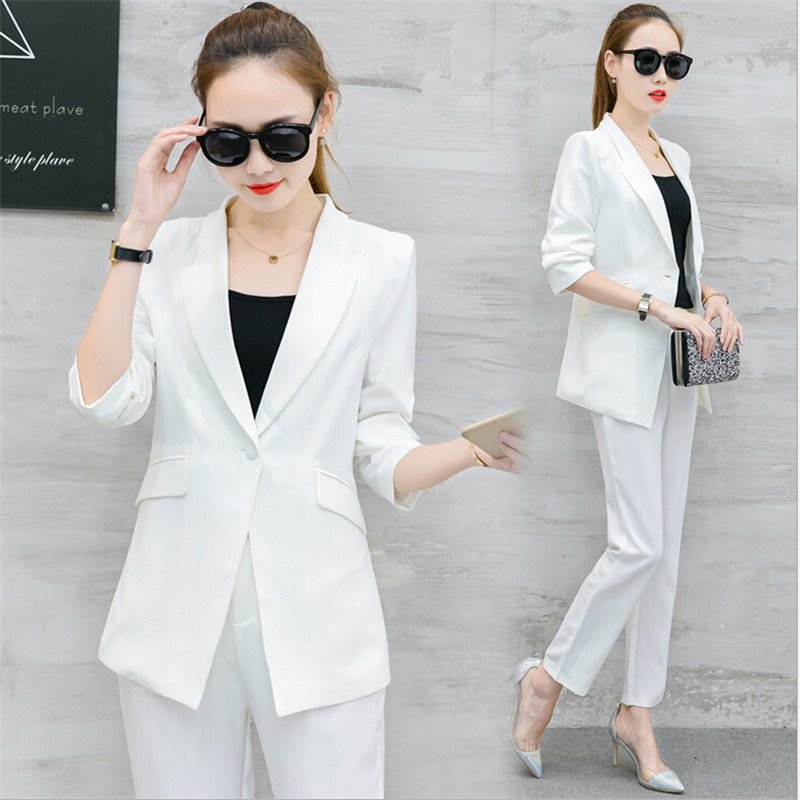Fashion spring and autumn two-piece female 2018 new Korean Slim was thin intellectual elegance elegant professional suit