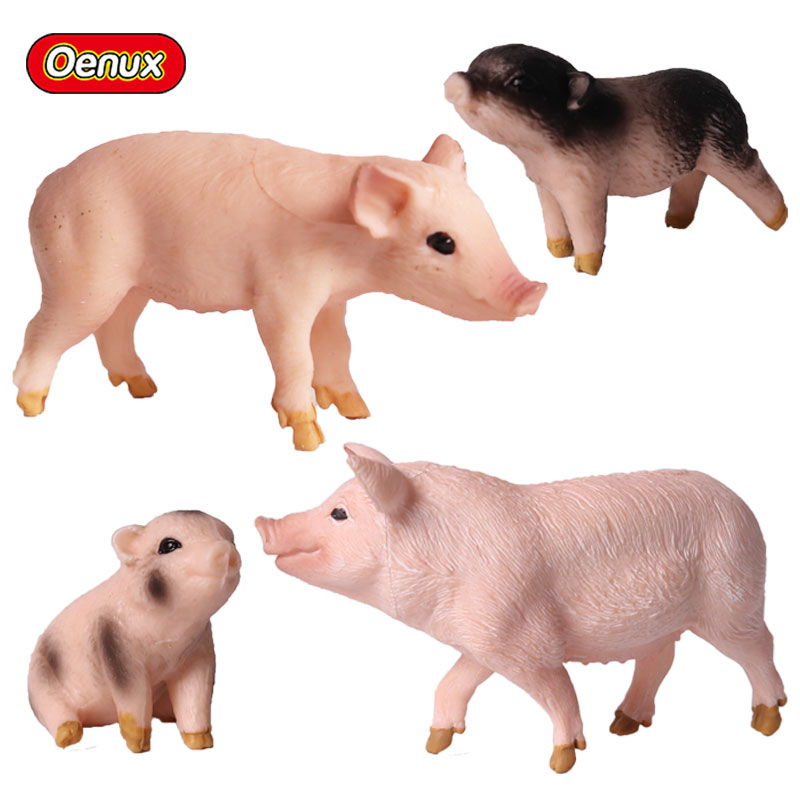 Oenux Mini Farm Animal Pigs Figurines Model Simulation Cute Pig Garden Decoration Action Figure Toy Collection Toy For Kids Gift