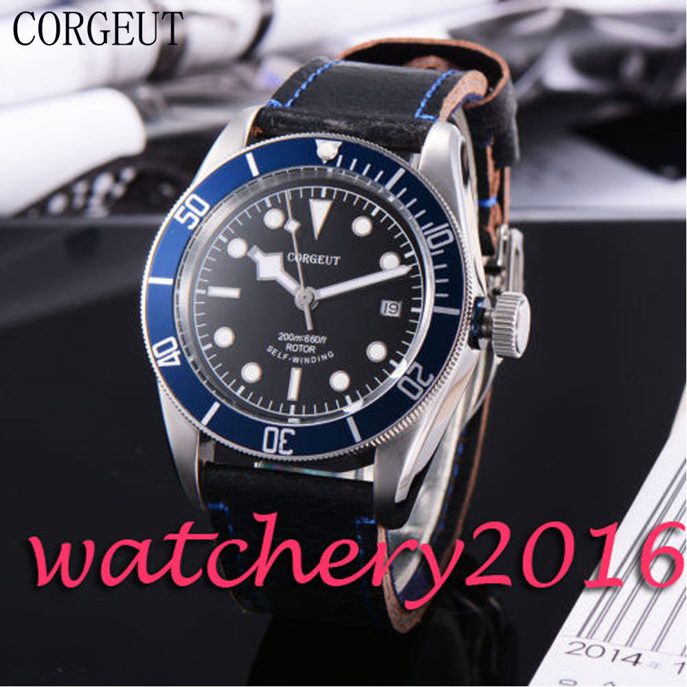 Luxury Corgeut 41mm black dial SS case sapphire glass worthy Deployment buckle Luminous miyota Automatic movement Men's Watch hot selling womens ss watch with tongston middle bead sapphire crystal ss buckle freeshipping ls3506s