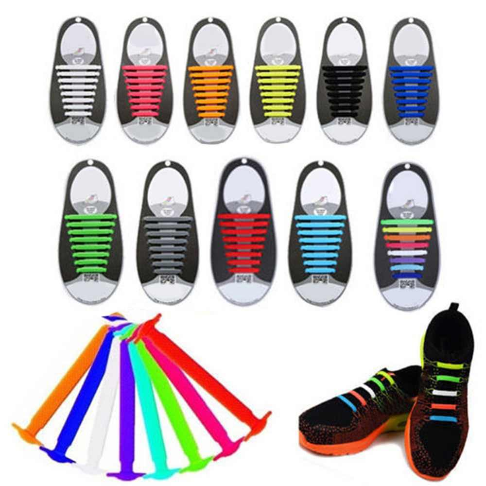 Creative Design Unisex Women Men Athletic Running No Tie Shoelaces Elastic Silicone Shoe Lace All Sneakers 11 Colors Optional