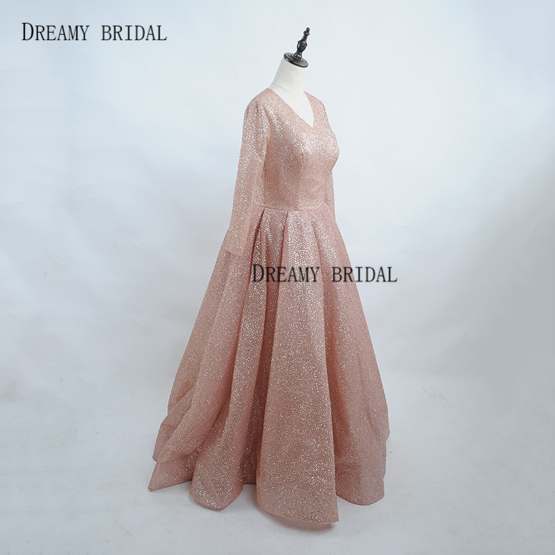 Dreamy Bridal Rose Gold Evening Dresses Glitter Sparking Robe De Soiree  Long Sleeves Deep V Neck Formal Gowns Custom Made -in Evening Dresses from  Weddings ... 70b0014f42bf