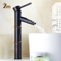 ZGRK Black Brass Waterfall Bathroom Sink Faucet Vessel Tall Bamboo Water Tap Retro Single Hole Basin Faucets