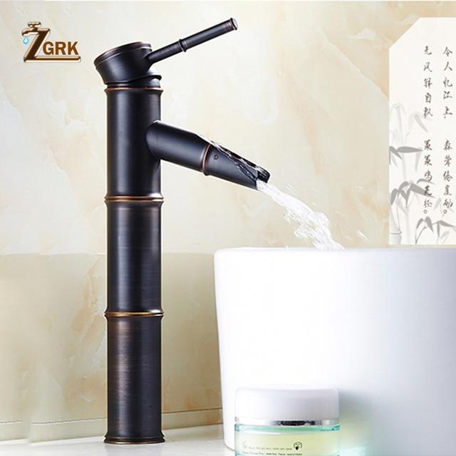 ZGRK черный латунный водопад, смеситель для раковины в ванной комнате, большой бамбуковый кран для воды, ретро смесители для раковины с одним отверстием