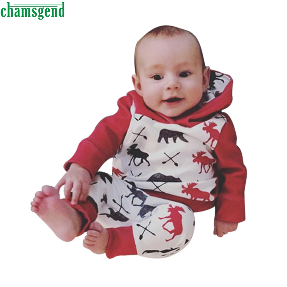 CHAMSGEND Red Toddler Infant Baby Boy Girl Deer Bear Character Full Cotton Hoodie Tops+Pants Outfits Clothes Set ag3 P30