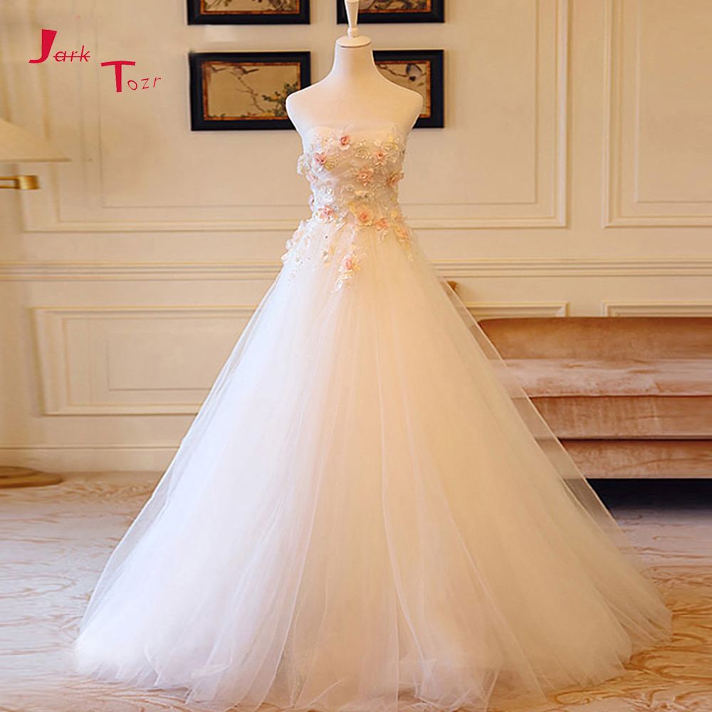 Jark Tozr Custom Made Strapless Lace Up Beading Pleat Colorful Flowers A-line Wedding Dresses None Train 2019 Robe De Mariee