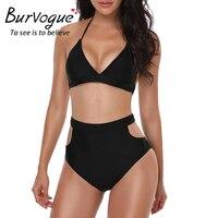 Burvogue High Waist Bikini Set New Swimsuit Women Summer New Sexy Monokini Swimwear V Neck Bathing