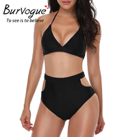 Burvogue High Waist Bikini Set New Swimsuit Women Summer New Sexy Monokini Swimwear V Neck Bathing