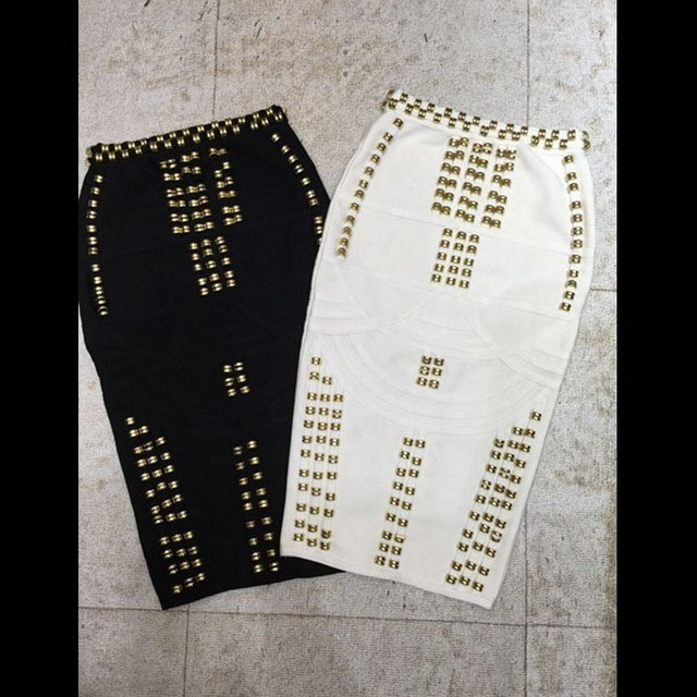 adad0dd05a 2017 new arrival top quality white beaded studded Bandage Skirt black  Women's Knitted Midi Pencil Skirts