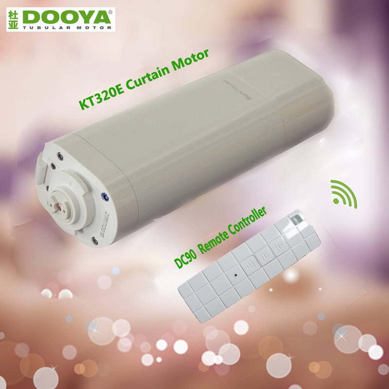 Eruiklink Original Dooya Home Automation Electric Curtain Motor KT320E-45W+Dooya DC90 Single Channel Emitter Curtain track