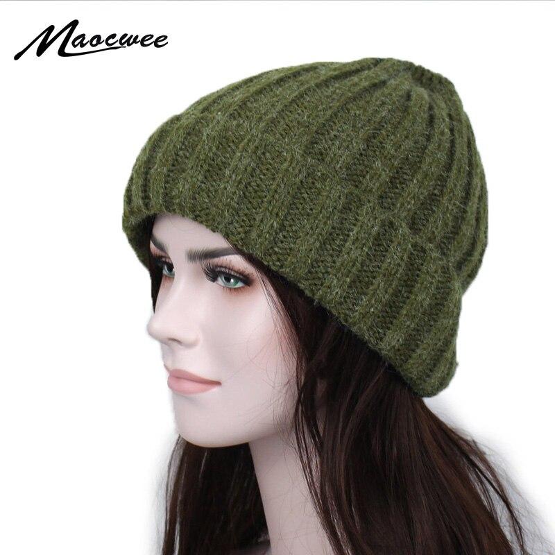 a86357b2992e2 Sombreros de invierno sombrero sólido sombrero femenino Unisex llano cálido  suave de la raya de las mujeres Skullies gorros de punto Touca Gorro gorras  para ...