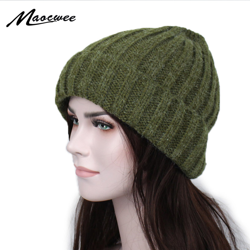 Winter Hats Solid Hat Female Unisex Plain Warm Soft Women's Stripe   Skullies     Beanies   Knitted Touca Gorro Caps for Men Women 2018