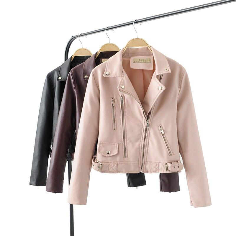 2019 New Fashion Women Smooth Motorcycle Faux   Leather   Jackets Ladies Long Sleeve Autumn Winter Biker Streetwear Black Coat pink