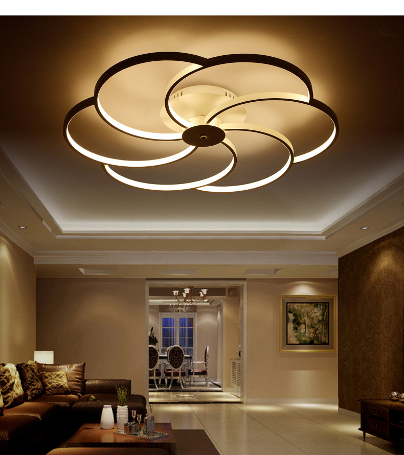 Modern Super Thin Circel Rings White LED Ceiling Light Fixture Lustre Large Flush Surface Mounted Lamp For Dining Bedroom