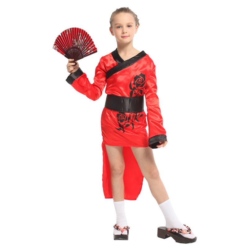Traditional Japanese Kimono Robe Child Geisha Girl Costume Cosplay Halloween Carnival Mardi Gras Party Fancy Dress Red