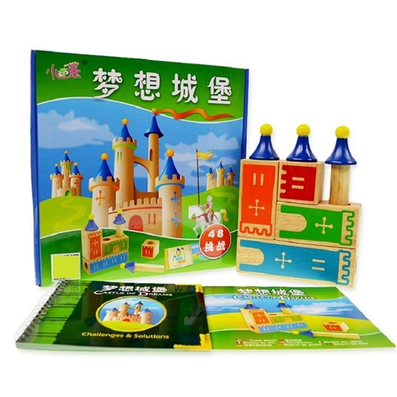 Castle Logix Wooden Building Blocks 48 Challenge Smart IQ Training Games For Children Oyuncak Brinquedos Brinquedo Menino