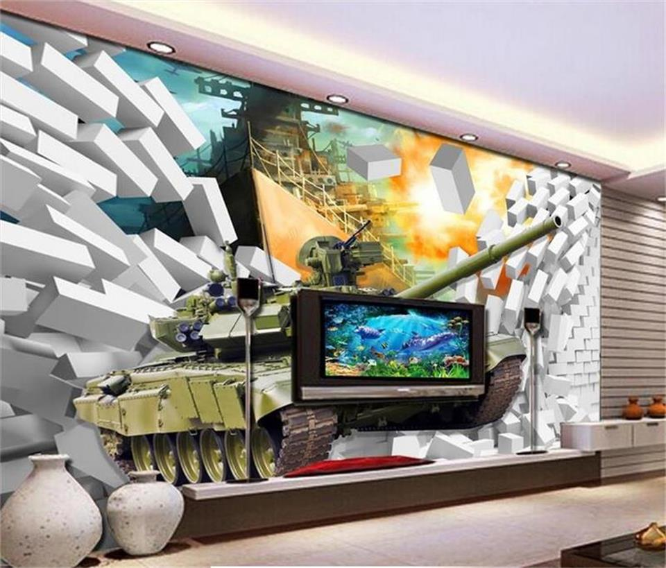 3d wallpaper custom photo wallpaper mural living room warship tank out brick wall 3d painting sofa TV background wall sticker large mural living room bedroom sofa tv background 3d wallpaper 3d wallpaper wall painting romantic cherry