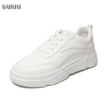 SANMM Women Thick Sole Casual Shoes Flat Platform Small White Shoes Lace-Up Sneakers Woman New Walking Shoes AZ98 стоимость