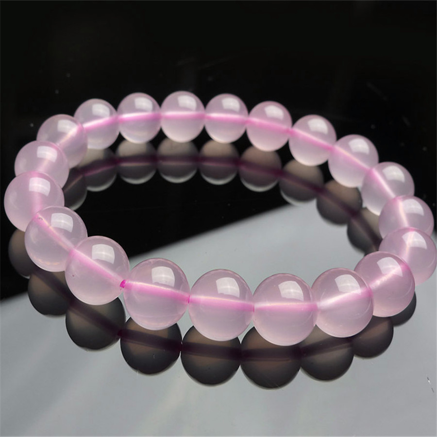 Фото 9mm Genuine Natural Pink  Quartz Bracelets For Women Female Love Charm Stretch Round Crystal Bead Bracelet. Купить в РФ