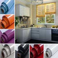 Yazi Gloss Shining Solid Color Self Adhesive Removable Sticker Kitchen Shelf Liner Wallpaper Sticker Mural Home