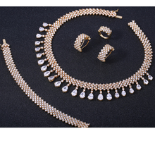 ZHE FAN Gold Color Queen Water Drop Jewelry Sets White AAA CZ Zircon For Lady Party 4 Pcs Set Necklace Earrings Bracelet Ring