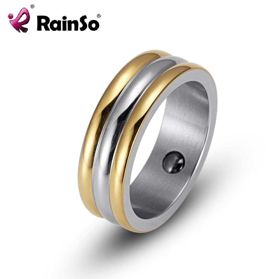 RainSo Fashion Stainless Steel Unisex Ring Hematite Health magnet Ring Bio Energy Titanium Steel Wedding Band Ring for Men Women 2pcs lot hd404019rd03fs