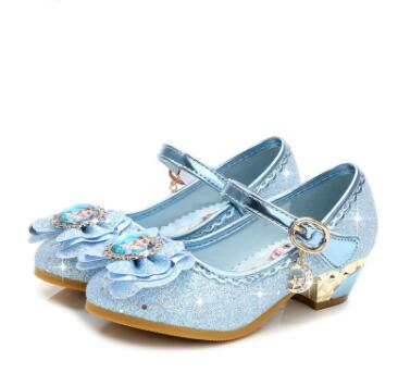 Children Leather Sandals Child High Heels Girls Princess Summer Elsa Shoes Chaussure Enfants Sandals Party Anna Shoes