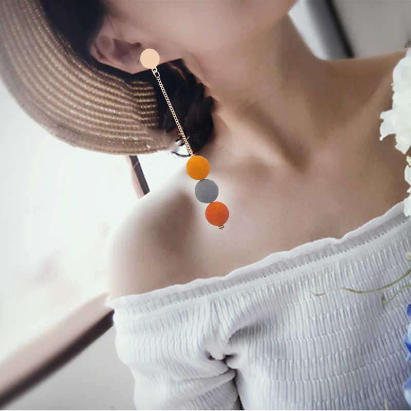 קוריאני אופנה ארוך מדרון סימטריה גיאומטרית ריינסטון מעגל עגילי חדש אקריליק עגיל לנשים מתנת מסיבת חתונה