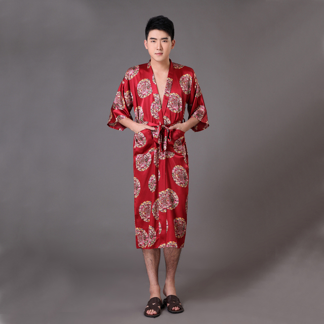 Hot Sale Burgundy Chinese Men's Satin Robe Novelty Dragon Kimono Yukata Gown Summer Lounge Sleepwear  S M L XL XXL XXXL MP016