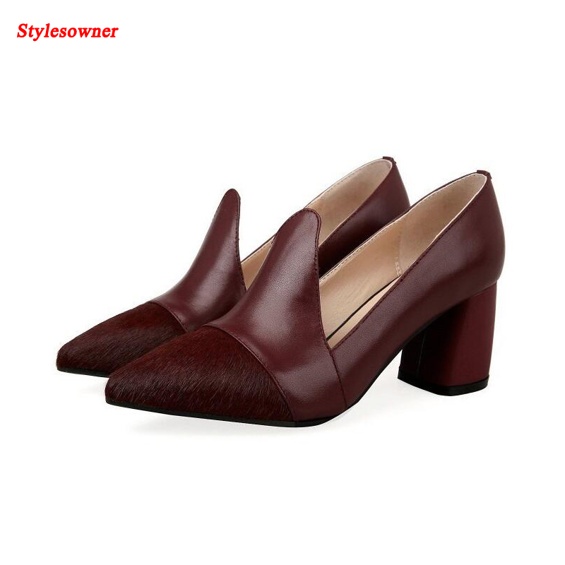 ФОТО Stylesowner Leather wowen 2017 new coming spring horse hair shoes thick high heel shallow mouth  leather shoes