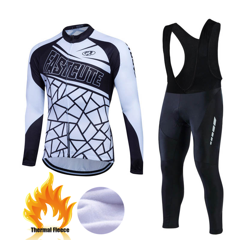 2017 Men Winter Thermal Warm Up Fleece Compression Cycling Base Layers Shirts Running Sets Jersey Sports Suits Bike Clothes