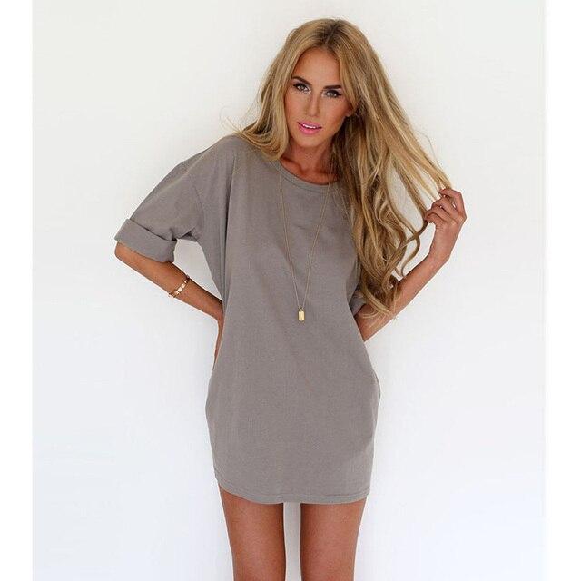 51de77853d Mulheres de algodão vestido de verão Mini Sexy camiseta meninas mujer Plus  Size vestidos de roupas