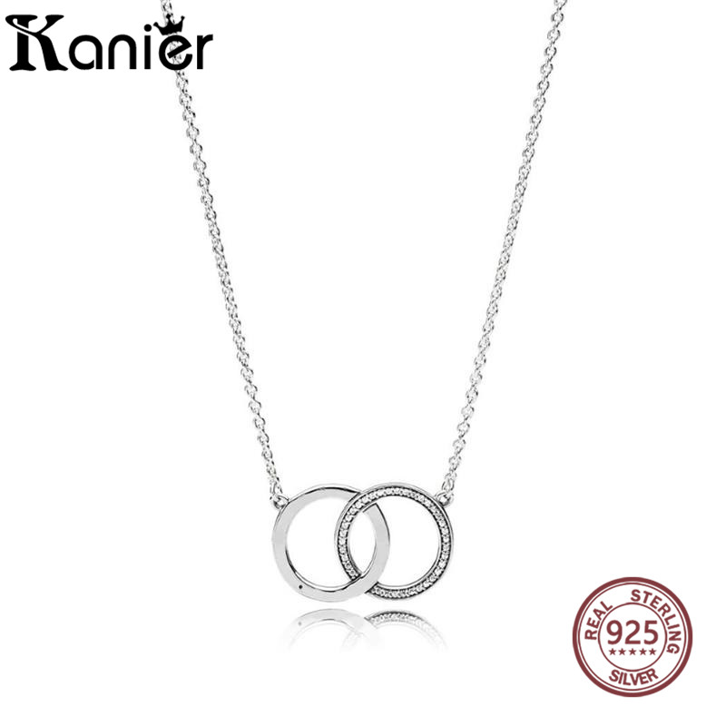 KANIER Two Round Pendant Necklace Fashion Classic Elegant Has Logo 100% Pure Silver For PANDOR Link Chain Whosale 45CM Free Mail