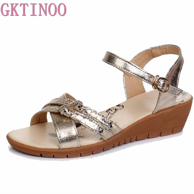 GKTINOO Women Sandals Genuine Leather Casual Women Shoes Fashion Flat Shoes Wedges Sandals Ladies Shoes Summer Sandals Big Size