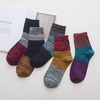 5 Pairs Of Pack Men Socks Fashion Patchwork Striped Sock Casual Cotton Spring Autumn Male