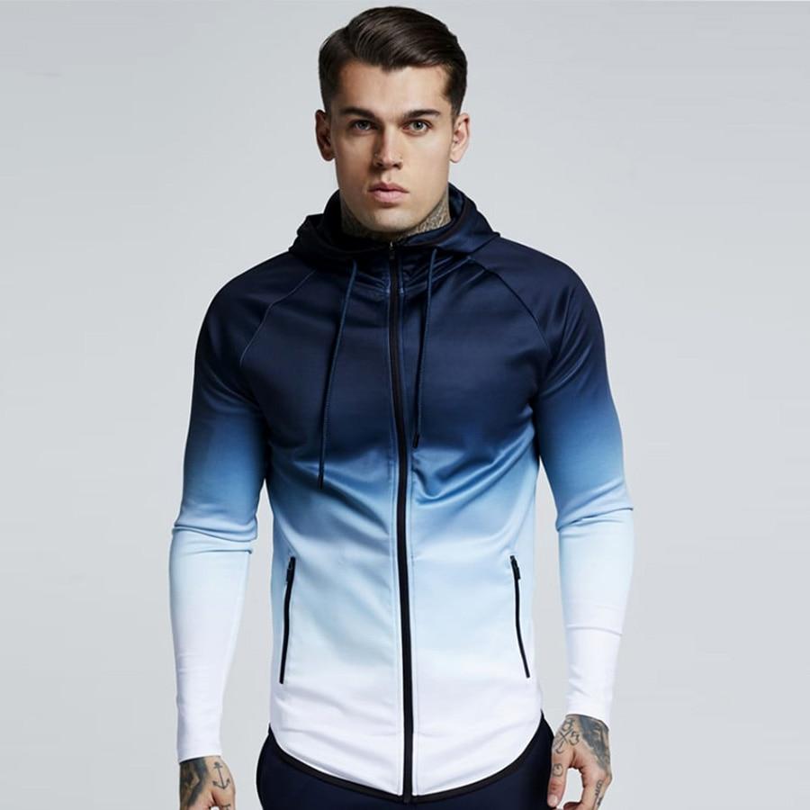 spring men jacket fashion gradient color thin hooded sweatshirt mens slim zipper Cardigan brand outerwear hoodies streetwear Top