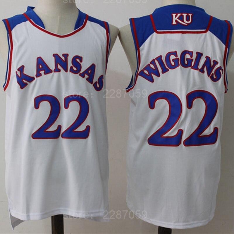 c78184705a6e Ediwallen Basketball 22 Andrew Wiggins Jersey Men Blue White Color Team  Kansas Jayhawks College Jerseys Cheap Stitched Sale