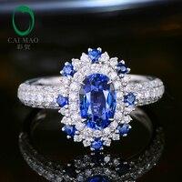 CaiMao 1.57ct Природный сапфир кольцо с Halo бриллиантами 18kt белого золота Обручение Свадебные украшения