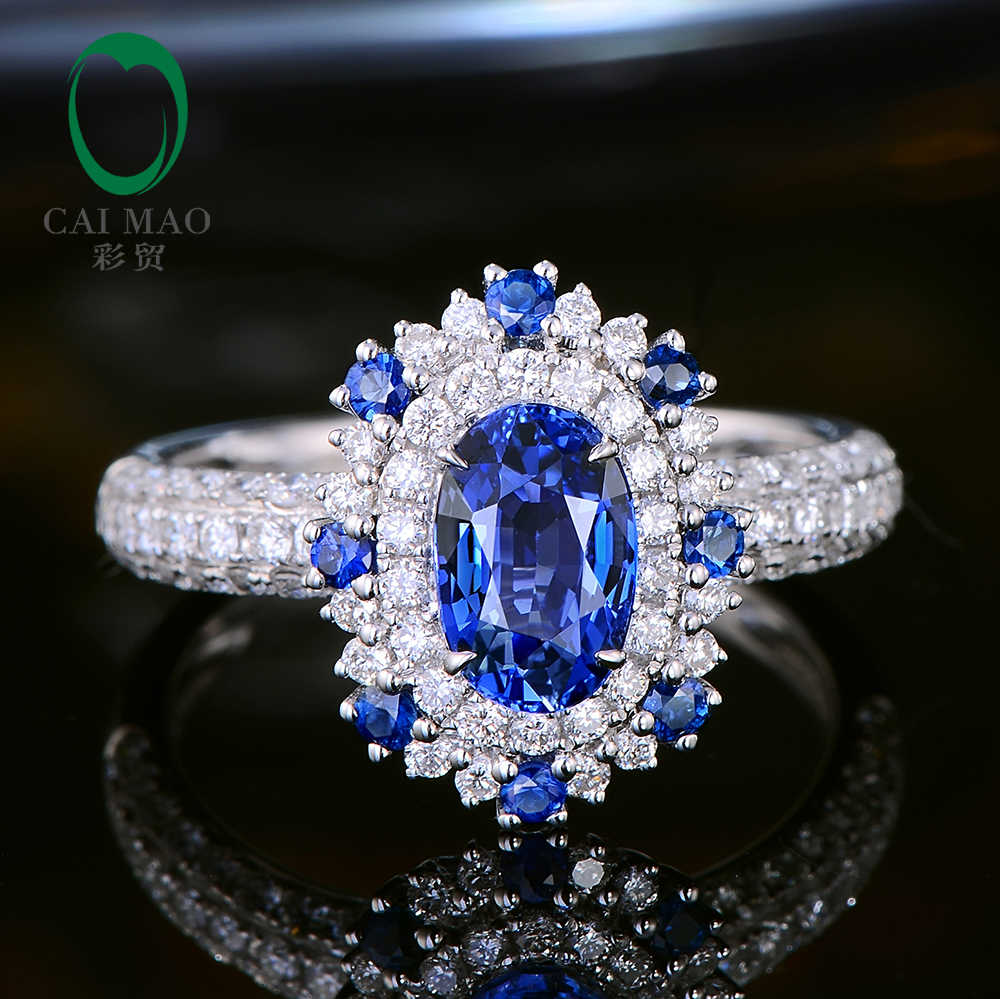 4a1771d01f70b CaiMao 1.57ct Natural Sapphire Ring with Halo Diamonds 18kt White ...