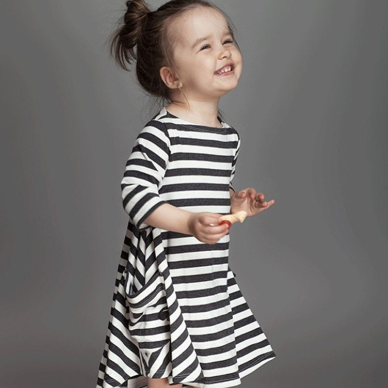 2018 Girls Dresses Euro Fashion Brand Children Dress Black White Striped Girl Jumpers Baby Girl Clothes Outfits Three Quarter