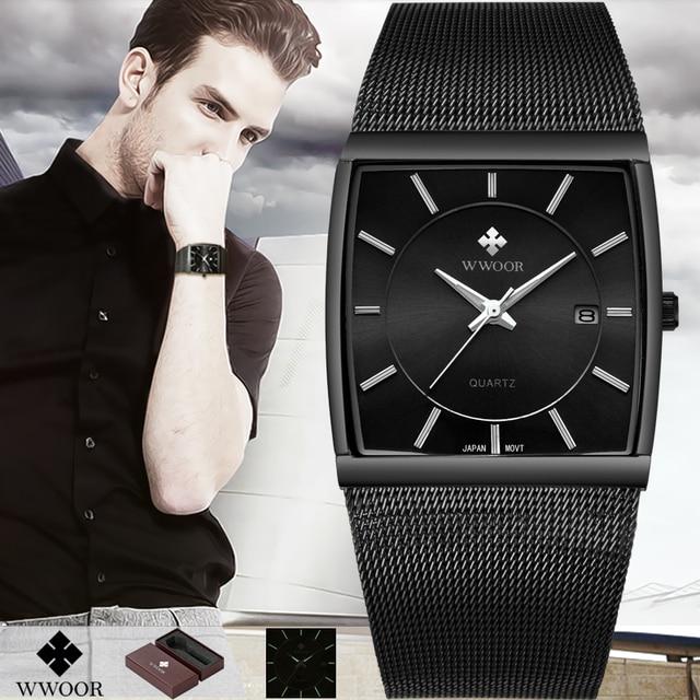 96ad56a1761 WWOOR Top Brand Luxury Mens Square Quartz Watches Male Waterproof Date Clock  Black Stainless Steel Mesh Business Men Wrist Watch