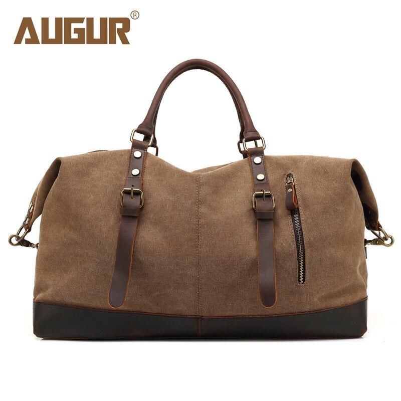 AUGUR nouvelle grande capacité vintage en cuir sacs hommes bagages emballage polochon top-poignée grands sacs toile voyage sacs à main pour les femmes
