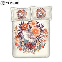 European Pastoral Bedding Set 3D Bird Flower Printing Bed Linens Bedcloth Girl Gift Cotton Bed Cover