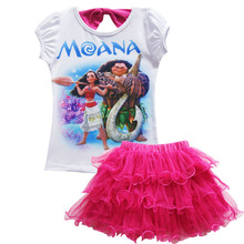 Girls Moana  tutu skirts solid fluffy tulle princess ball gown pettiskirt kids ballet party performance set for 3-9 Y children