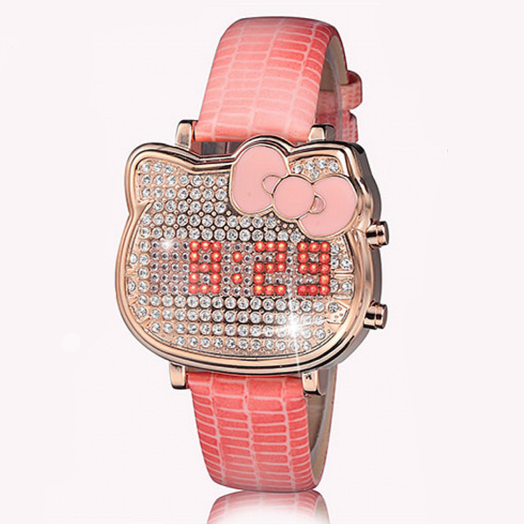 Hot Women Cartoon Watch Hello Kitty Girl Digital Watch Fashion Student Pink Cat Watch Leather Band Daimond Watch Pink Bracelet cartoon watch new arrival lovely girls hello kitty women watch children christmas fashion kids crystal wrist watch for gift