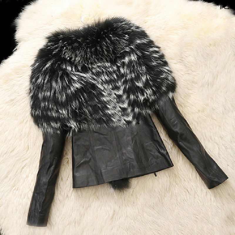 PLUS ขนาด S-6X ฤดูใบไม้ร่วงฤดูหนาวผู้หญิงเสื้อขนสัตว์ Faux Lady SLIM FIT Zipper PU เสื้อหนัง Fluffy Leopard Patchwork สั้น outerwear